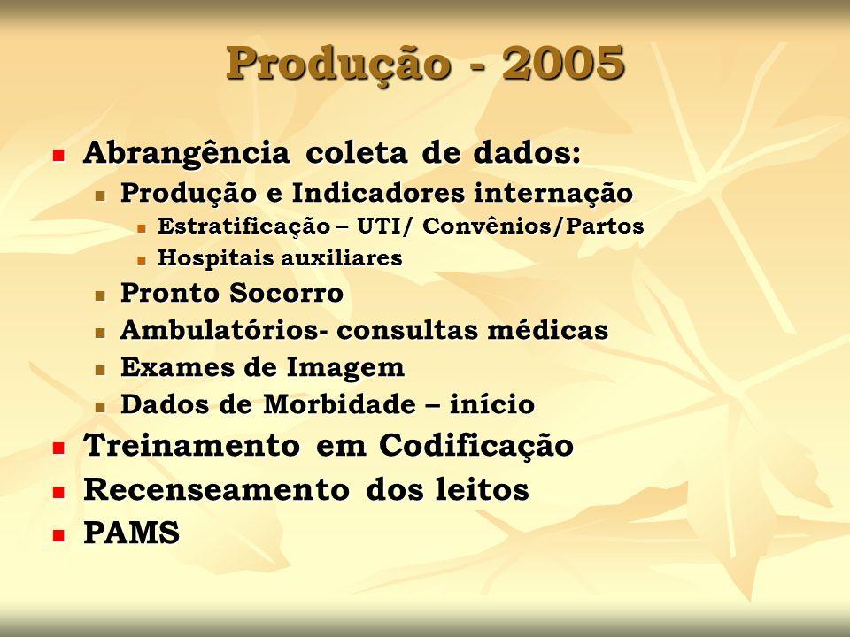 Produção - 2005 Abrangência coleta de dados: Abrangência coleta de dados: Produção e Indicadores internação Produção e Indicadores internação Estratif