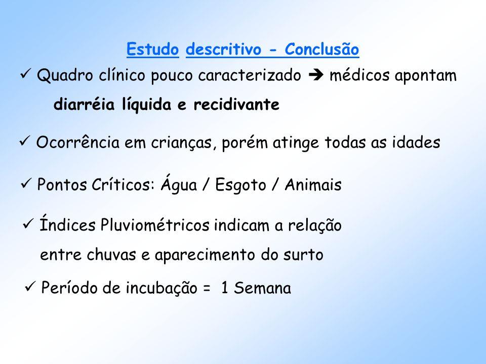 Índices pluviométricos por mês, General Salgado, 1999 Fonte: CATI(Coordenadoria de Assistência Técnica Integrada) Monitorização de Doenças Diarreicas Agudas (MDDA) Número de casos de DDA por Semanas Epidemiológicas, General Salgado, 1999