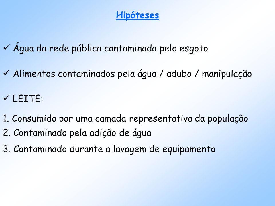 Hipóteses Água da rede pública contaminada pelo esgoto Alimentos contaminados pela água / adubo / manipulação LEITE: 1.