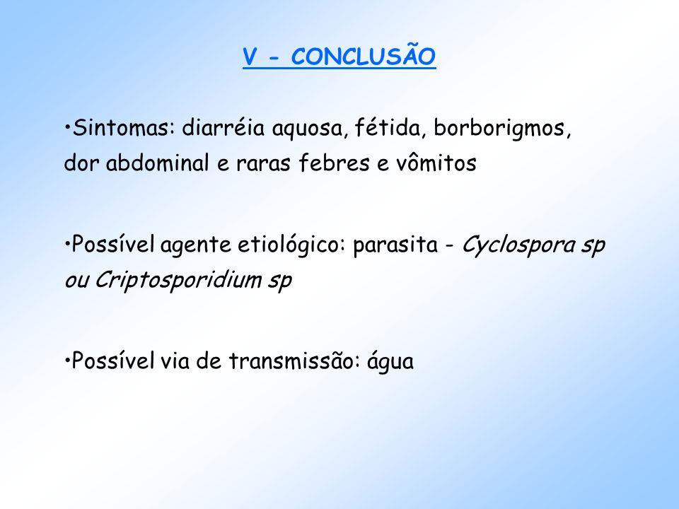 V - CONCLUSÃO Sintomas: diarréia aquosa, fétida, borborigmos, dor abdominal e raras febres e vômitos Possível agente etiológico: parasita - Cyclospora sp ou Criptosporidium sp Possível via de transmissão: água