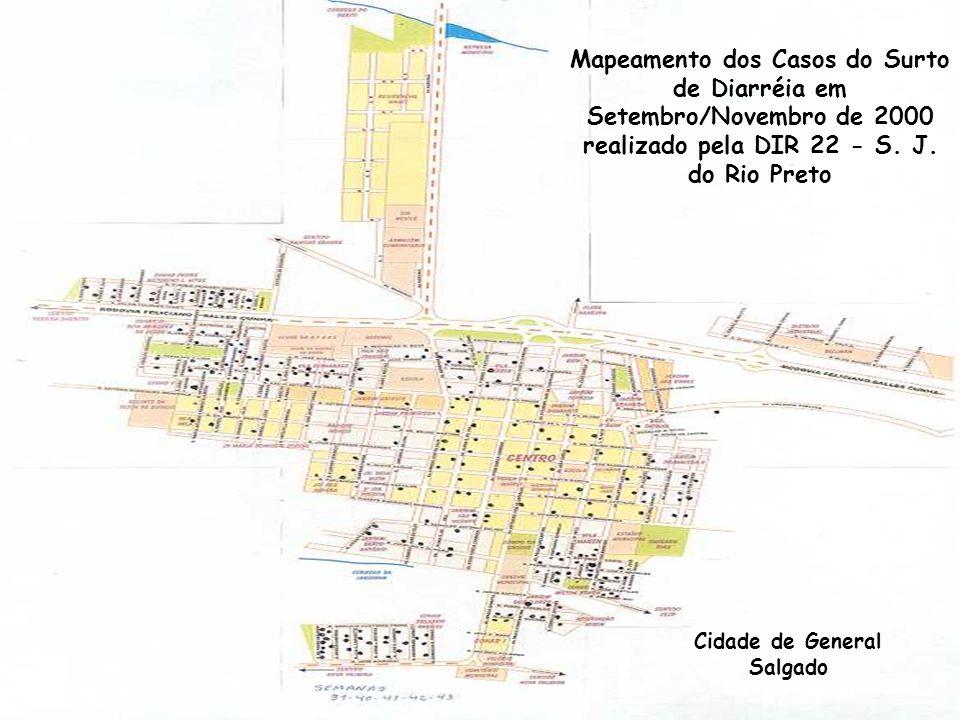 Mapeamento dos Casos do Surto de Diarréia em Setembro/Novembro de 2000 realizado pela DIR 22 - S.