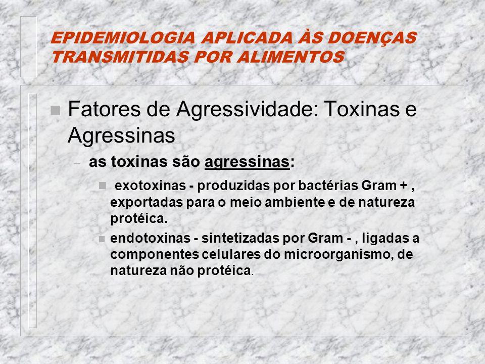 EPIDEMIOLOGIA APLICADA ÀS DOENÇAS TRANSMITIDAS POR ALIMENTOS n Fatores de Agressividade: Toxinas e Agressinas – as toxinas são agressinas: n exotoxinas - produzidas por bactérias Gram +, exportadas para o meio ambiente e de natureza protéica.