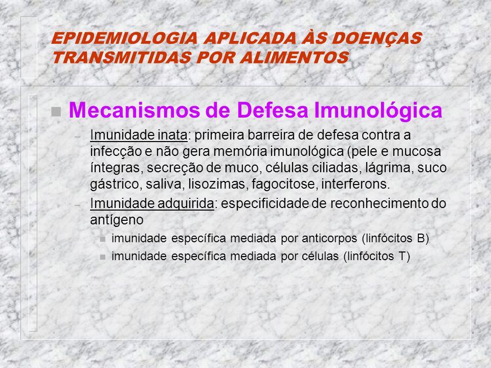 EPIDEMIOLOGIA APLICADA ÀS DOENÇAS TRANSMITIDAS POR ALIMENTOS n Mecanismos de Defesa Imunológica – Imunidade inata: primeira barreira de defesa contra a infecção e não gera memória imunológica (pele e mucosa íntegras, secreção de muco, células ciliadas, lágrima, suco gástrico, saliva, lisozimas, fagocitose, interferons.