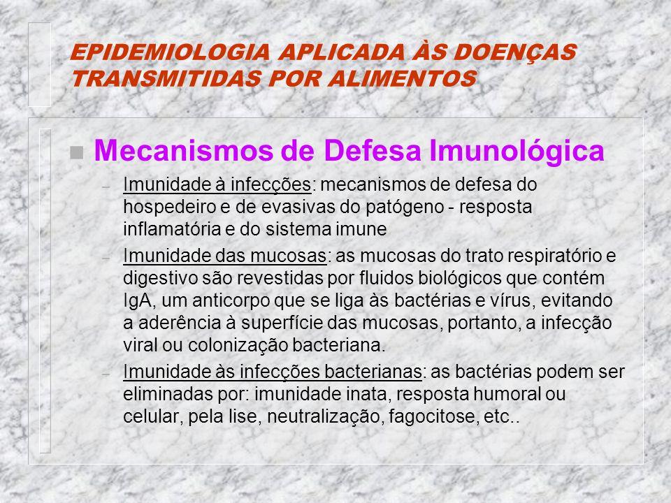 EPIDEMIOLOGIA APLICADA ÀS DOENÇAS TRANSMITIDAS POR ALIMENTOS n Mecanismos de Defesa Imunológica – Imunidade à infecções: mecanismos de defesa do hospedeiro e de evasivas do patógeno - resposta inflamatória e do sistema imune – Imunidade das mucosas: as mucosas do trato respiratório e digestivo são revestidas por fluidos biológicos que contém IgA, um anticorpo que se liga às bactérias e vírus, evitando a aderência à superfície das mucosas, portanto, a infecção viral ou colonização bacteriana.