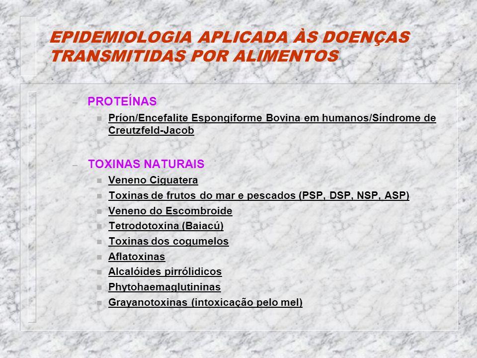EPIDEMIOLOGIA APLICADA ÀS DOENÇAS TRANSMITIDAS POR ALIMENTOS – PROTEÍNAS n Príon/Encefalite Espongiforme Bovina em humanos/Síndrome de Creutzfeld-Jacob – TOXINAS NATURAIS n Veneno Ciguatera n Toxinas de frutos do mar e pescados (PSP, DSP, NSP, ASP) n Veneno do Escombroide n Tetrodotoxina (Baiacú) n Toxinas dos cogumelos n Aflatoxinas n Alcalóides pirrólidicos n Phytohaemaglutininas n Grayanotoxinas (intoxicação pelo mel)