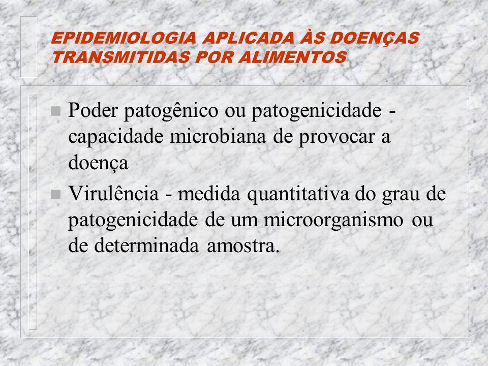 EPIDEMIOLOGIA APLICADA ÀS DOENÇAS TRANSMITIDAS POR ALIMENTOS n Poder patogênico ou patogenicidade - capacidade microbiana de provocar a doença n Virulência - medida quantitativa do grau de patogenicidade de um microorganismo ou de determinada amostra.
