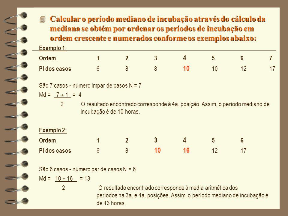 4 Calcular o período mediano de incubação através do cálculo da mediana se obtém por ordenar os períodos de incubação em ordem crescente e numerados c
