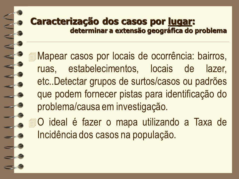 4 Mapear casos por locais de ocorrência: bairros, ruas, estabelecimentos, locais de lazer, etc..Detectar grupos de surtos/casos ou padrões que podem f