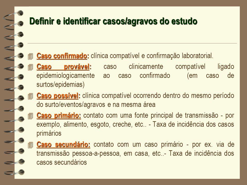 Definir e identificar casos/agravos do estudo 4 Caso confirmado: 4 Caso confirmado: clínica compatível e confirmação laboratorial. 4 Caso provável: 4