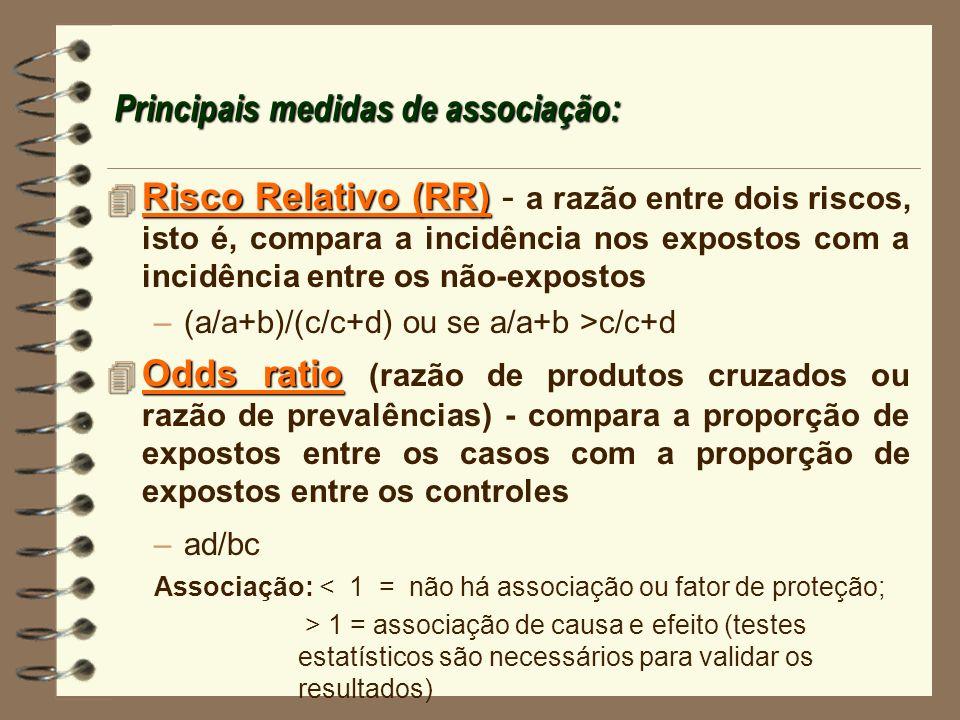Principais medidas de associação: 4 Risco Relativo (RR) 4 Risco Relativo (RR) - a razão entre dois riscos, isto é, compara a incidência nos expostos c