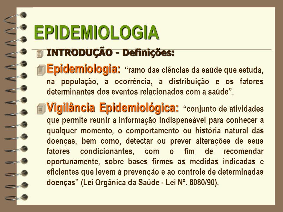 EPIDEMIOLOGIA 4 INTRODUÇÃO - Definições: 4 Epidemiologia: 4 Epidemiologia: ramo das ciências da saúde que estuda, na população, a ocorrência, a distri