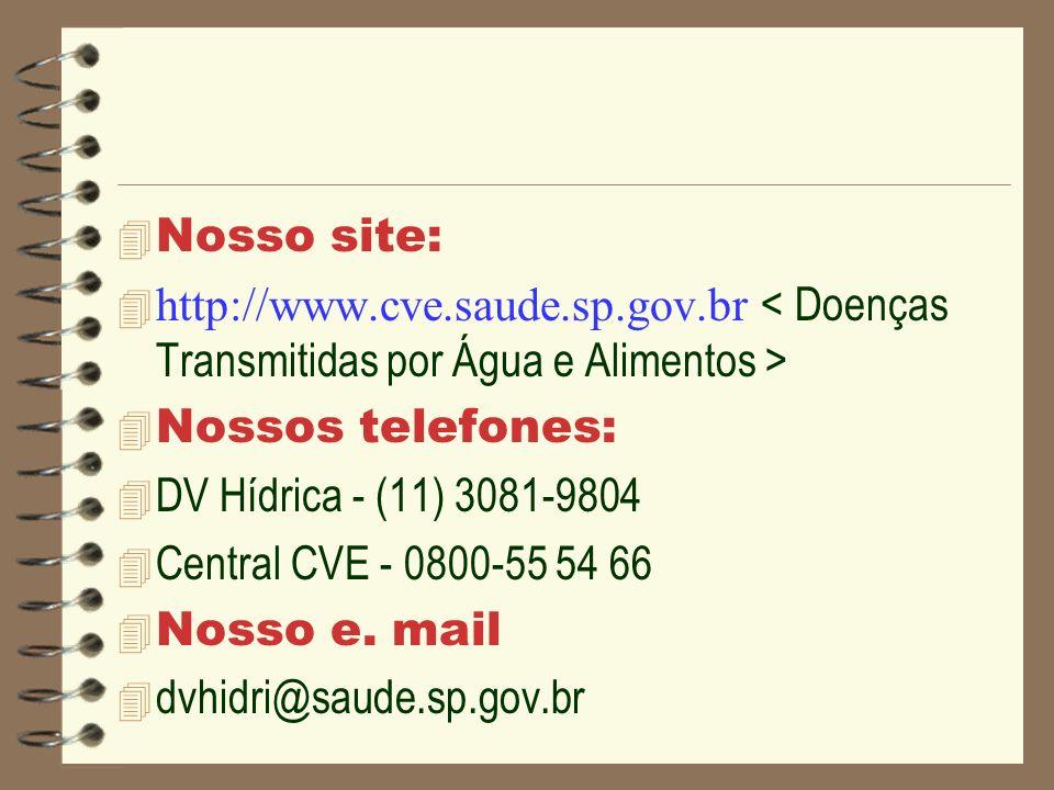 Nosso site: http://www.cve.saude.sp.gov.br Nossos telefones: 4 DV Hídrica - (11) 3081-9804 4 Central CVE - 0800-55 54 66 Nosso e. mail 4 dvhidri@saude
