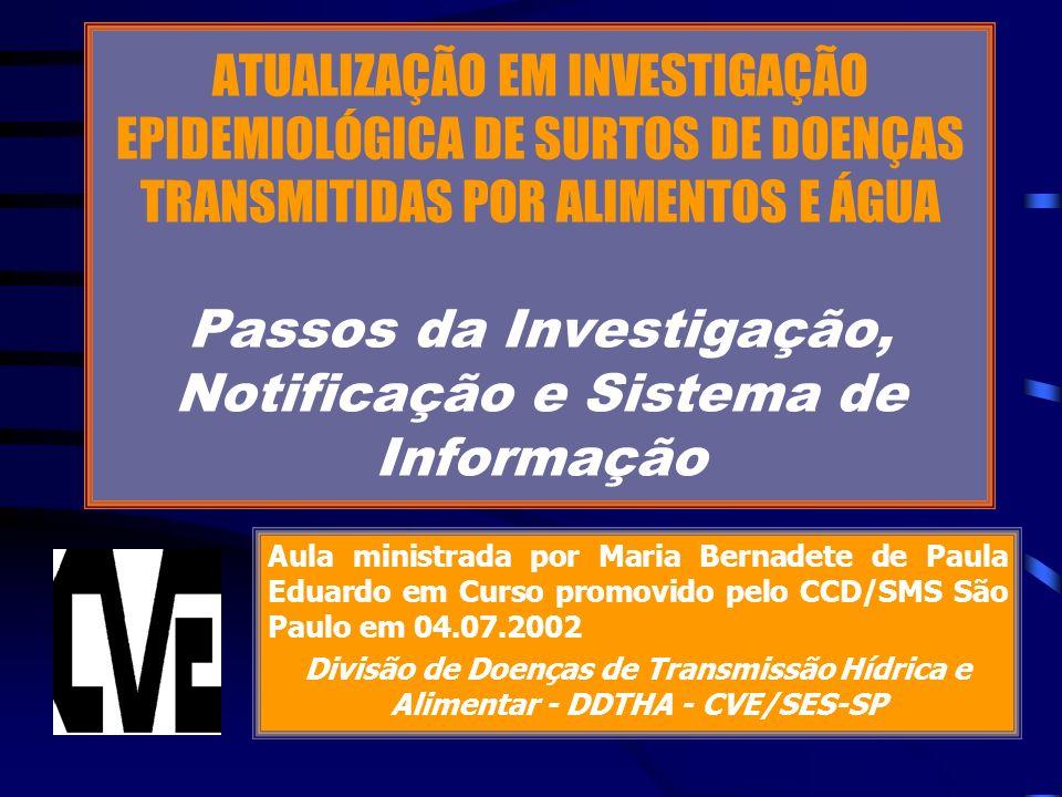 ATUALIZAÇÃO EM INVESTIGAÇÃO EPIDEMIOLÓGICA DE SURTOS DE DOENÇAS TRANSMITIDAS POR ALIMENTOS E ÁGUA Passos da Investigação, Notificação e Sistema de Informação Aula ministrada por Maria Bernadete de Paula Eduardo em Curso promovido pelo CCD/SMS São Paulo em 04.07.2002 Divisão de Doenças de Transmissão Hídrica e Alimentar - DDTHA - CVE/SES-SP