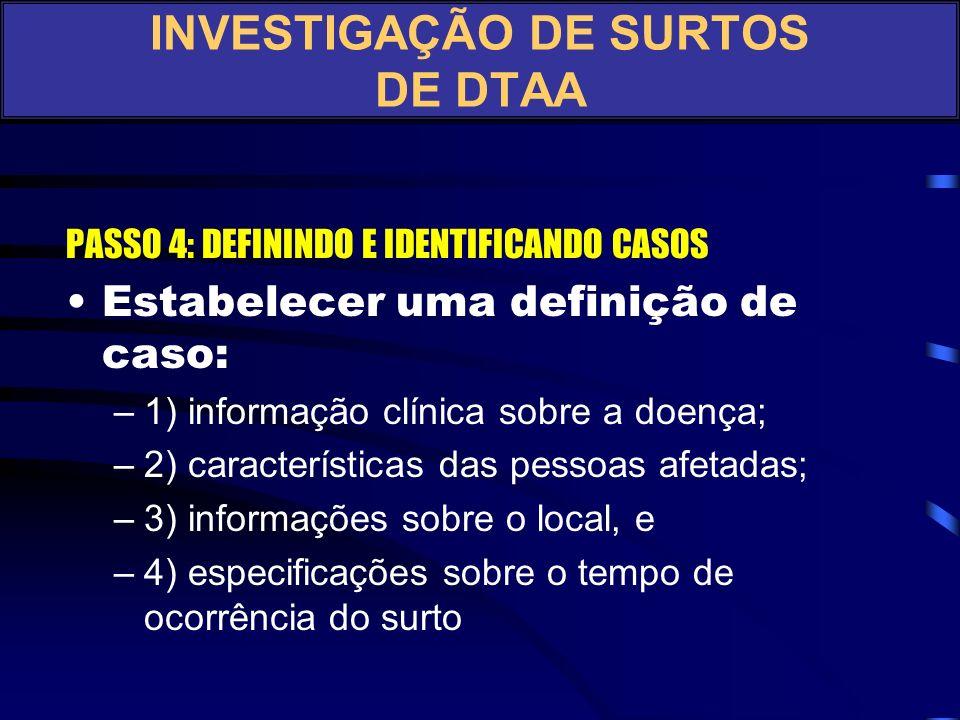 PASSO 3: VERIFICAR O DIAGNÓSTICO Quais os diagnósticos diferenciais? INVESTIGAÇÃO DE SURTOS DE DTAA