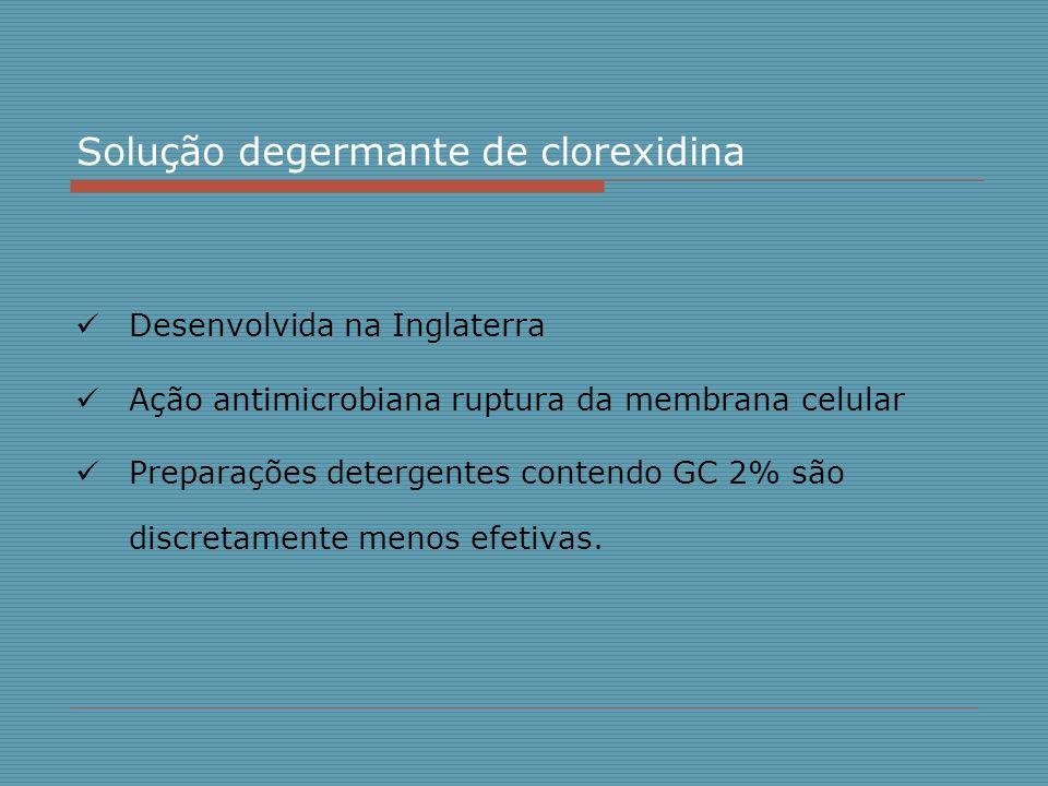 Solução degermante de clorexidina Desenvolvida na Inglaterra Ação antimicrobiana ruptura da membrana celular Preparações detergentes contendo GC 2% sã