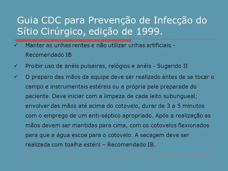 Guia CDC para Prevenção de Infecção do Sítio Cirúrgico, edição de 1999. Manter as unhas rentes e não utilizar unhas artificiais - Recomendado IB Proib
