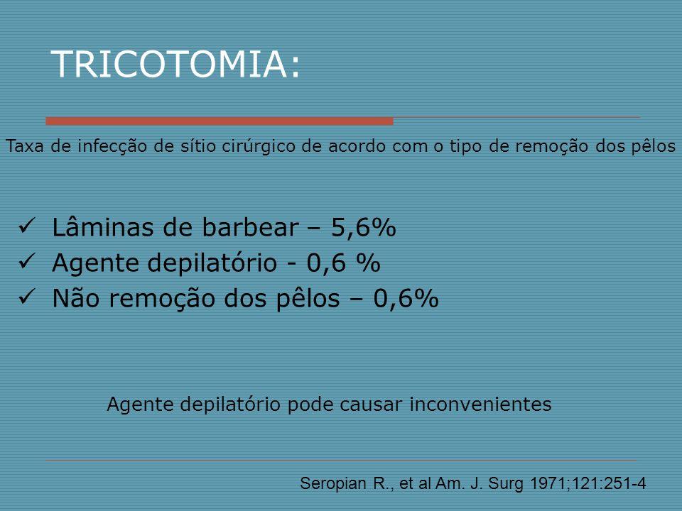 Situações especiais na anti-sepsia pré operatória Obstetrícia e Neonatologia Soluções iodadas não recomendadas devido ao risco de absorção de iodo pelo recém-nascido Anti-sepsia do canal de parto: Clorexidina aquosa 0,2% (reduz risco de transmissão de Streptococcus grupo B) Recém –nascido: Clorexidina alcoólica ou álcool 70%