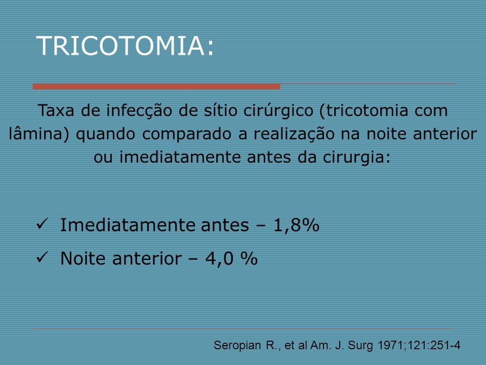 Imediatamente antes – 1,8% Noite anterior – 4,0 % Taxa de infecção de sítio cirúrgico (tricotomia com lâmina) quando comparado a realização na noite a
