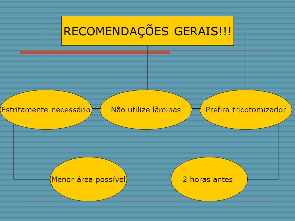 RECOMENDAÇÕES GERAIS!!! Estritamente necessárioNão utilize lâminasPrefira tricotomizador Menor área possível2 horas antes