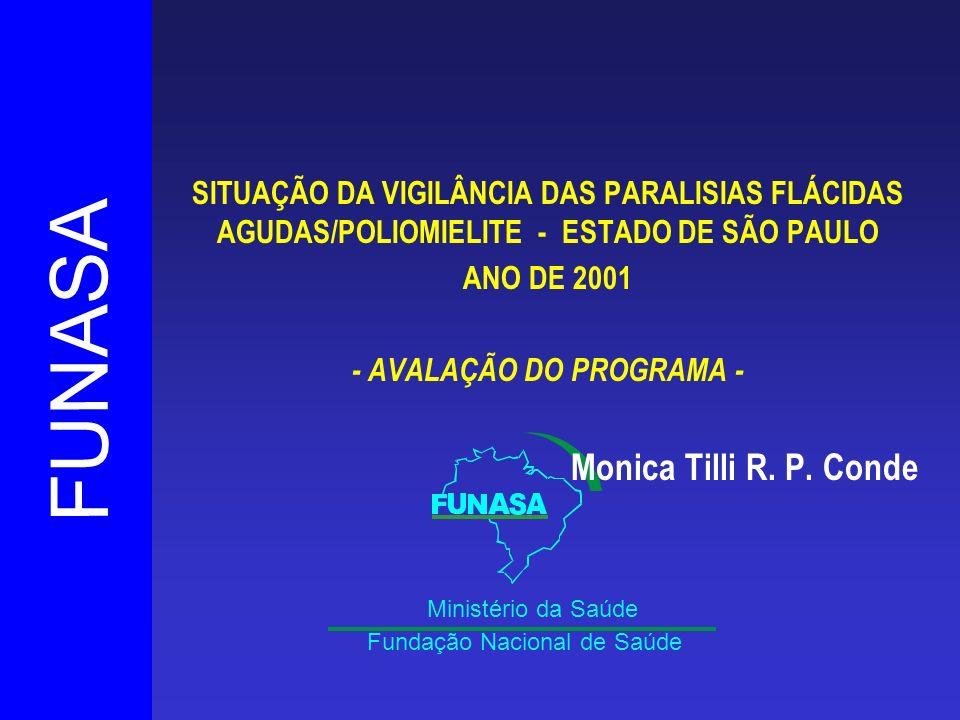 FUNASA Fundação Nacional de Saúde Ministério da Saúde SITUAÇÃO DA VIGILÂNCIA DAS PARALISIAS FLÁCIDAS AGUDAS/POLIOMIELITE - ESTADO DE SÃO PAULO ANO DE 2001 - AVALAÇÃO DO PROGRAMA - Monica Tilli R.