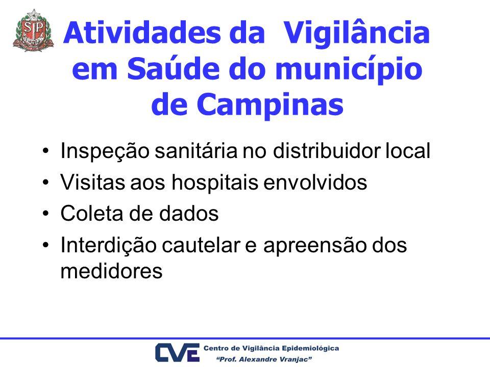 Atividades da Vigilância em Saúde do município de Campinas Inspeção sanitária no distribuidor local Visitas aos hospitais envolvidos Coleta de dados I