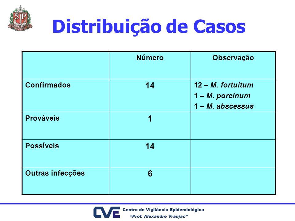 Distribuição de Casos NúmeroObservação Confirmados 14 12 – M. fortuitum 1 – M. porcinum 1 – M. abscessus Prováveis 1 Possíveis 14 Outras infecções 6