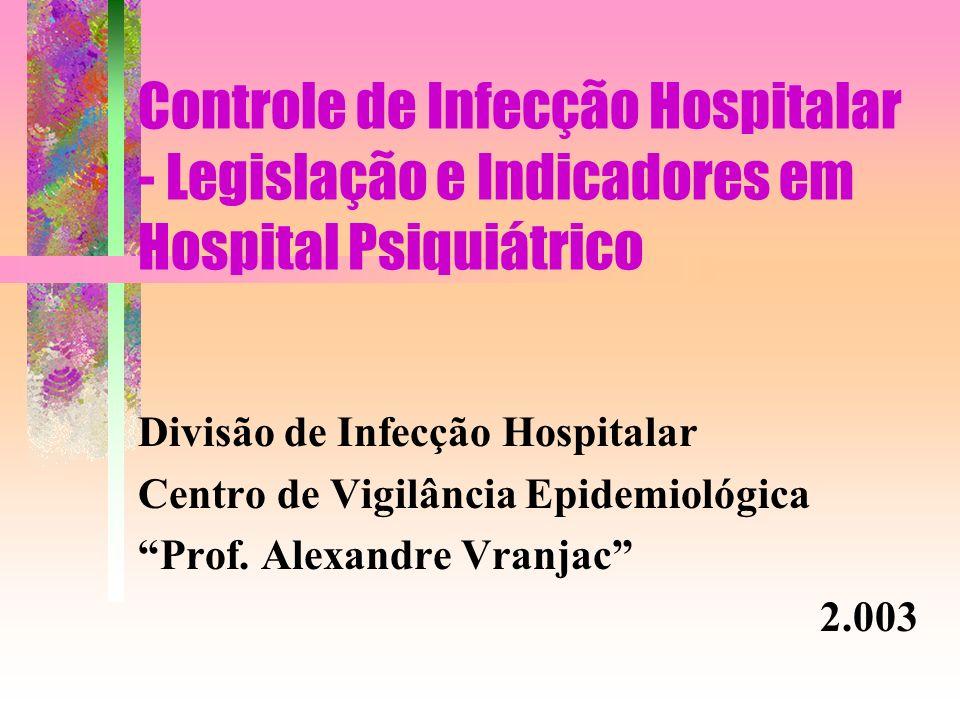 Controle de Infecção Hospitalar - Legislação e Indicadores em Hospital Psiquiátrico Divisão de Infecção Hospitalar Centro de Vigilância Epidemiológica