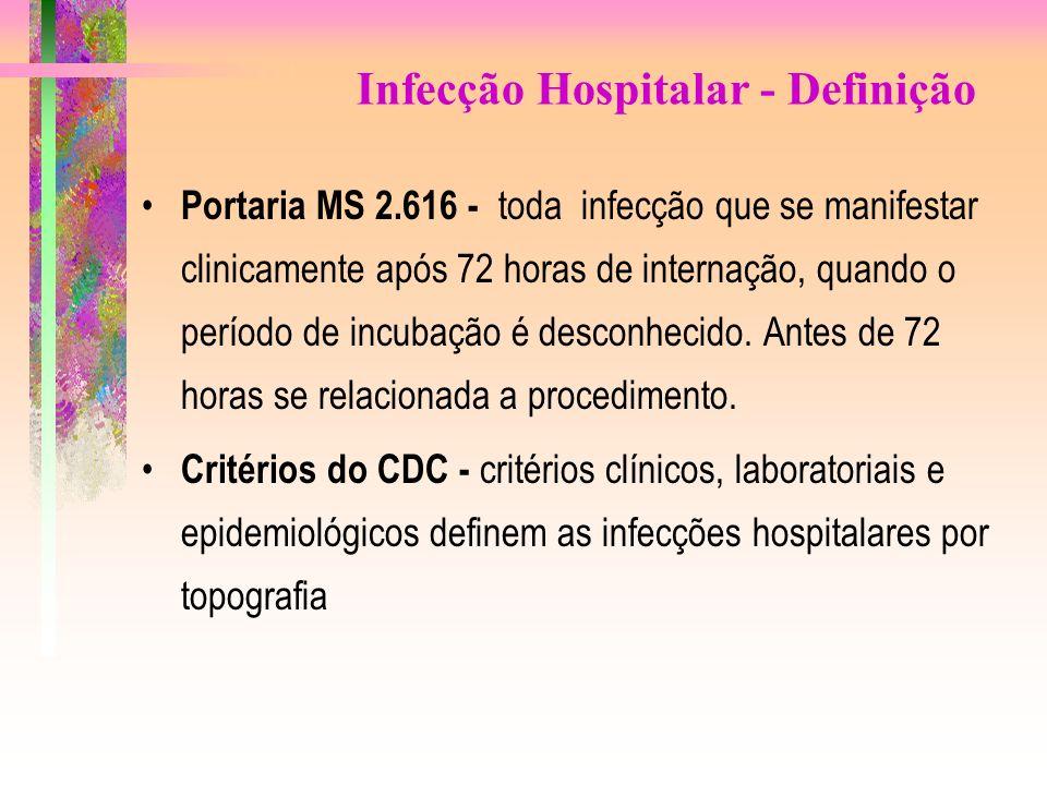 Infecção Hospitalar - Definição Portaria MS 2.616 - toda infecção que se manifestar clinicamente após 72 horas de internação, quando o período de incu