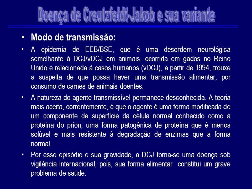 Modo de transmissão: A epidemia de EEB/BSE, que é uma desordem neurológica semelhante à DCJ/vDCJ em animais, ocorrida em gados no Reino Unido e relaci