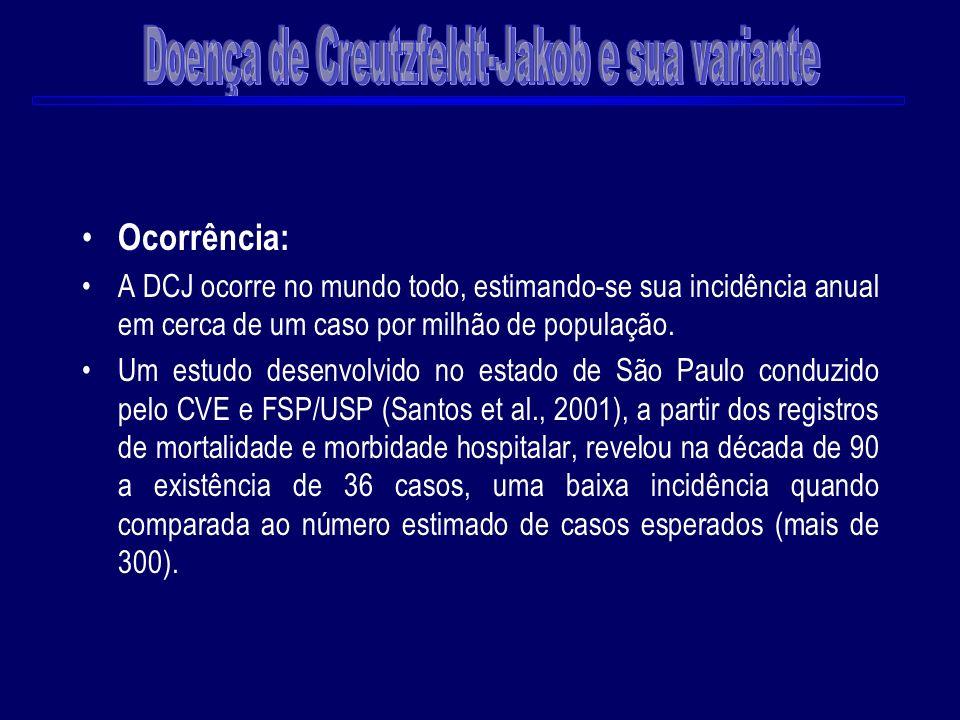 Ocorrência: A DCJ ocorre no mundo todo, estimando-se sua incidência anual em cerca de um caso por milhão de população. Um estudo desenvolvido no estad