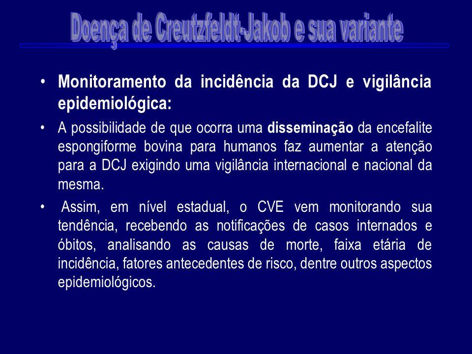 Monitoramento da incidência da DCJ e vigilância epidemiológica: A possibilidade de que ocorra uma disseminação da encefalite espongiforme bovina para