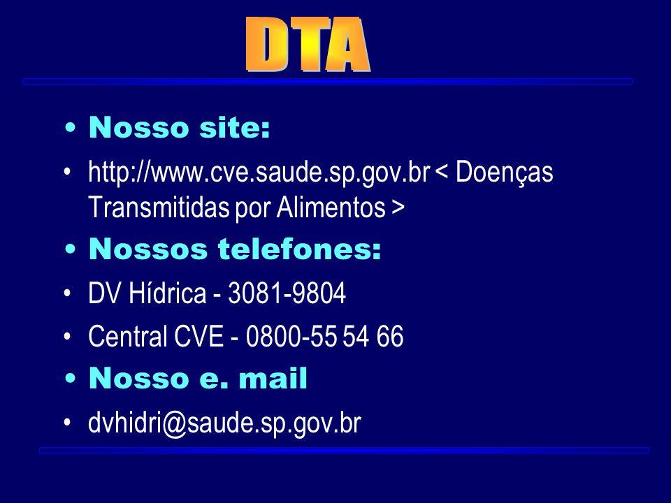 Nosso site: http://www.cve.saude.sp.gov.br Nossos telefones: DV Hídrica - 3081-9804 Central CVE - 0800-55 54 66 Nosso e. mail dvhidri@saude.sp.gov.br