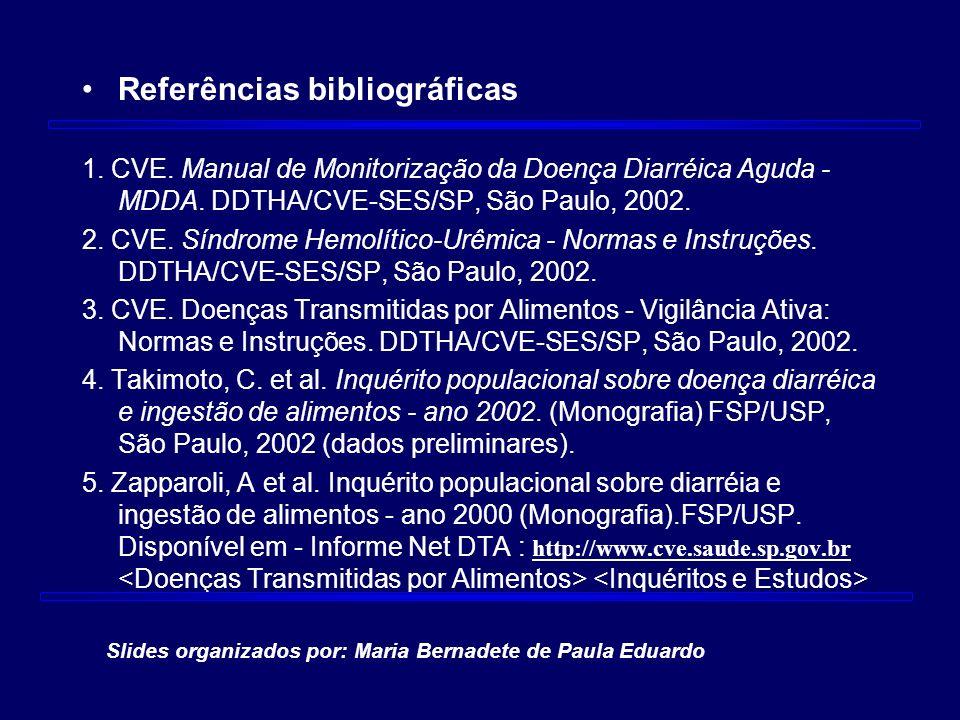 Referências bibliográficas 1. CVE. Manual de Monitorização da Doença Diarréica Aguda - MDDA. DDTHA/CVE-SES/SP, São Paulo, 2002. 2. CVE. Síndrome Hemol