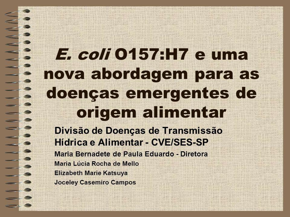 E. coli O157:H7 e uma nova abordagem para as doenças emergentes de origem alimentar Divisão de Doenças de Transmissão Hídrica e Alimentar - CVE/SES-SP