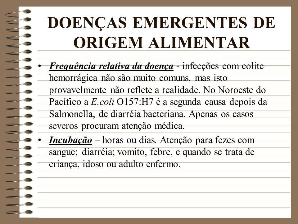 DOENÇAS EMERGENTES DE ORIGEM ALIMENTAR Frequência relativa da doença - infecções com colite hemorrágica não são muito comuns, mas isto provavelmente n