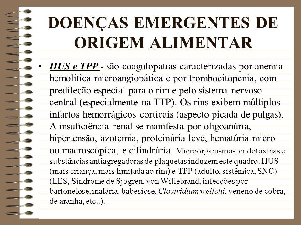 DOENÇAS EMERGENTES DE ORIGEM ALIMENTAR HUS e TPP - são coagulopatias caracterizadas por anemia hemolítica microangiopática e por trombocitopenia, com