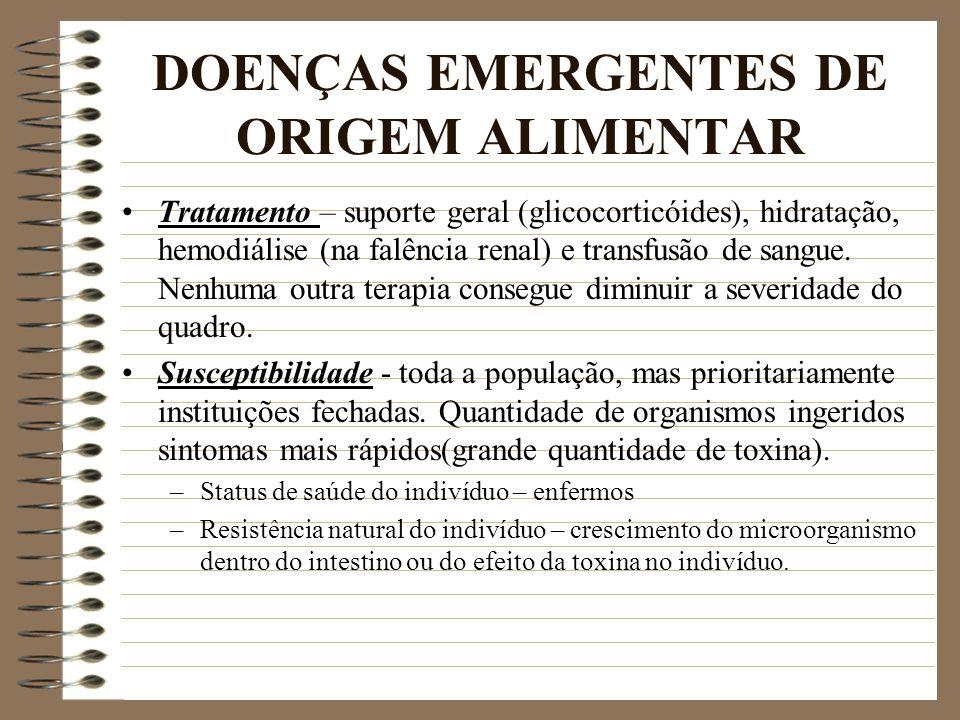 DOENÇAS EMERGENTES DE ORIGEM ALIMENTAR Tratamento – suporte geral (glicocorticóides), hidratação, hemodiálise (na falência renal) e transfusão de sang