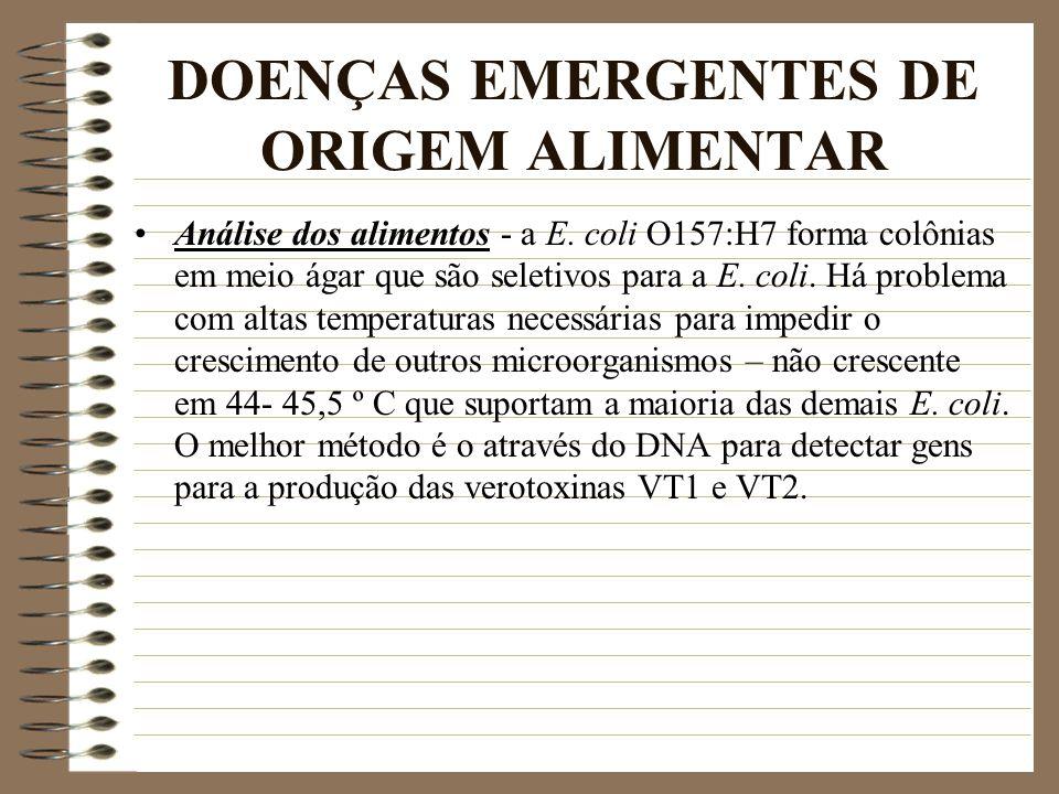 DOENÇAS EMERGENTES DE ORIGEM ALIMENTAR Análise dos alimentos - a E. coli O157:H7 forma colônias em meio ágar que são seletivos para a E. coli. Há prob