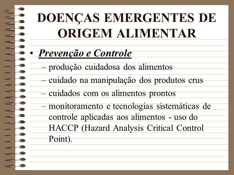 DOENÇAS EMERGENTES DE ORIGEM ALIMENTAR Prevenção e Controle –produção cuidadosa dos alimentos –cuidado na manipulação dos produtos crus –cuidados com