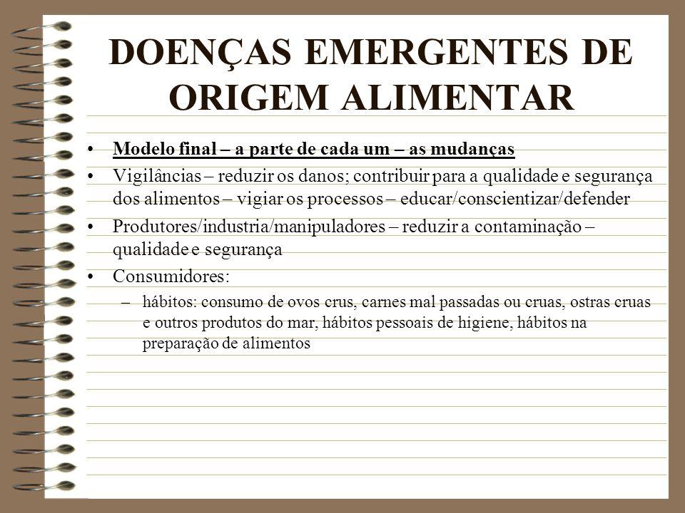 DOENÇAS EMERGENTES DE ORIGEM ALIMENTAR Modelo final – a parte de cada um – as mudanças Vigilâncias – reduzir os danos; contribuir para a qualidade e s