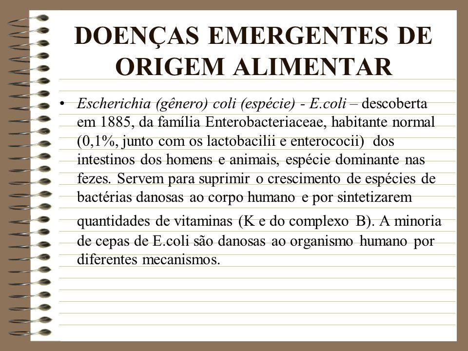 DOENÇAS EMERGENTES DE ORIGEM ALIMENTAR Escherichia (gênero) coli (espécie) - E.coli – descoberta em 1885, da família Enterobacteriaceae, habitante nor