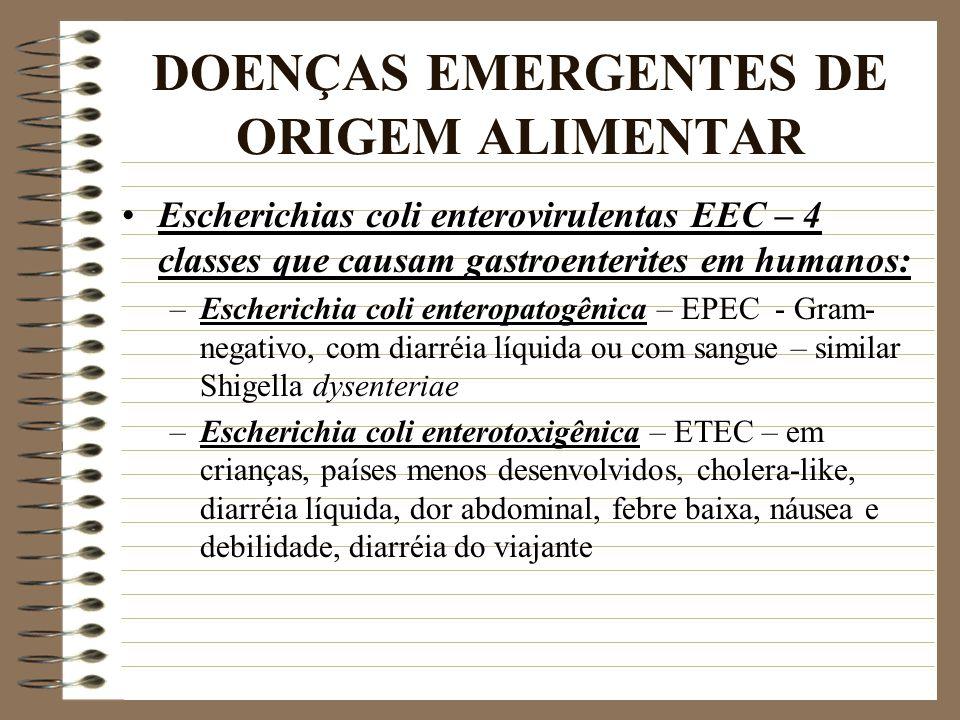 DOENÇAS EMERGENTES DE ORIGEM ALIMENTAR Escherichias coli enterovirulentas EEC – 4 classes que causam gastroenterites em humanos: –Escherichia coli ent