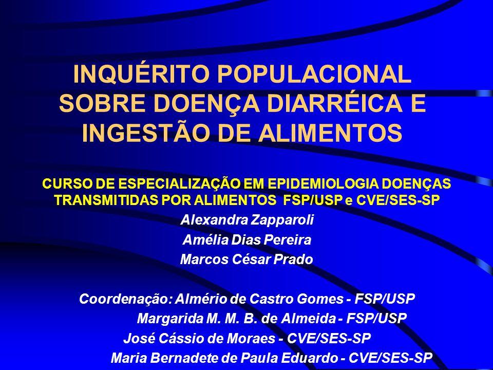 INQUÉRITO POPULACIONAL SOBRE DOENÇA DIARRÉICA E INGESTÃO DE ALIMENTOS CURSO DE ESPECIALIZAÇÃO EM EPIDEMIOLOGIA DOENÇAS TRANSMITIDAS POR ALIMENTOS FSP/