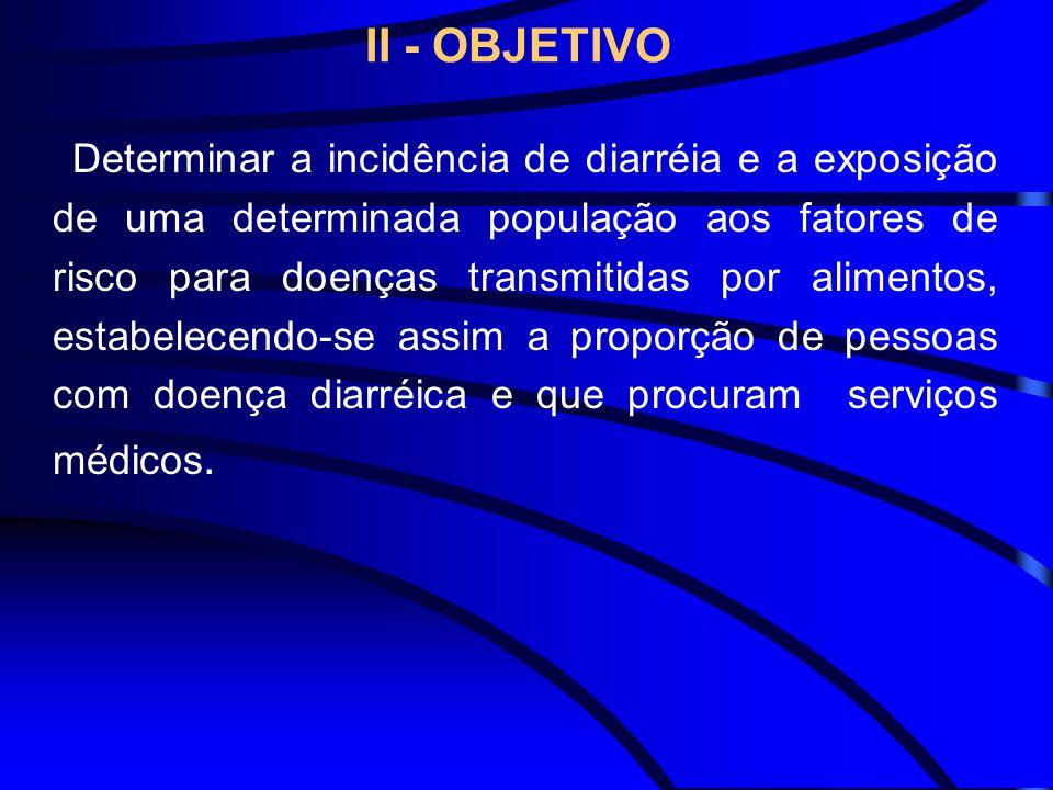 II - OBJETIVO Determinar a incidência de diarréia e a exposição de uma determinada população aos fatores de risco para doenças transmitidas por alimen