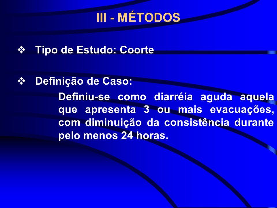 III - MÉTODOS Tipo de Estudo: Coorte Definição de Caso: Definiu-se como diarréia aguda aquela que apresenta 3 ou mais evacuações, com diminuição da co