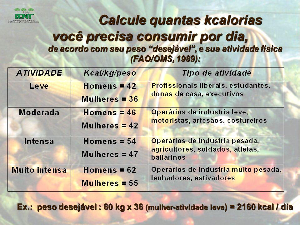Calcule quantas kcalorias você precisa consumir por dia, de acordo com seu peso desejável, e sua atividade física (FAO/OMS, 1989): Ex.: peso desejável : 60 kg x 36 (mulher-atividade leve ) = 2160 kcal / dia