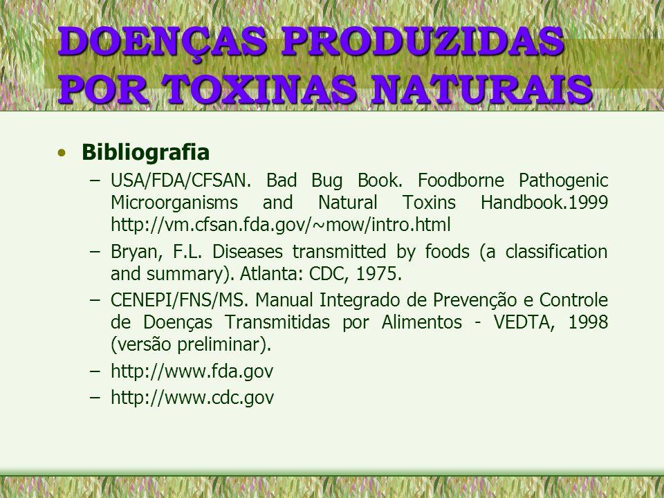 DOENÇAS PRODUZIDAS POR TOXINAS NATURAIS Bibliografia –USA/FDA/CFSAN. Bad Bug Book. Foodborne Pathogenic Microorganisms and Natural Toxins Handbook.199