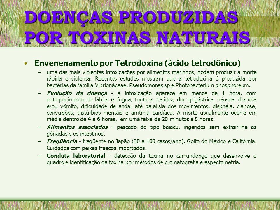 DOENÇAS PRODUZIDAS POR TOXINAS NATURAIS Envenenamento por Tetrodoxina (ácido tetrodônico) –uma das mais violentas intoxicações por alimentos marinhos,