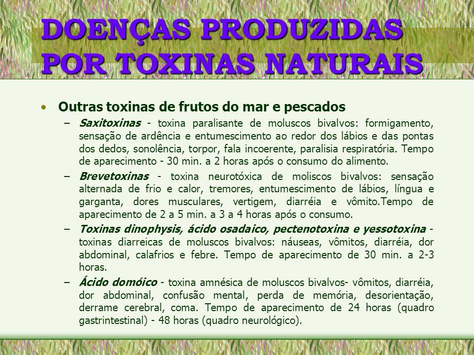 DOENÇAS PRODUZIDAS POR TOXINAS NATURAIS Toxinas dos Cogumelos - amanitina, giromitrina, Orelanina, Muscarina, Ácido Ibotenico, Muscimol, Psilocybin e Coprina –o envenenamento é causado pela ingestão de espécies de cogumelos tóxicos.