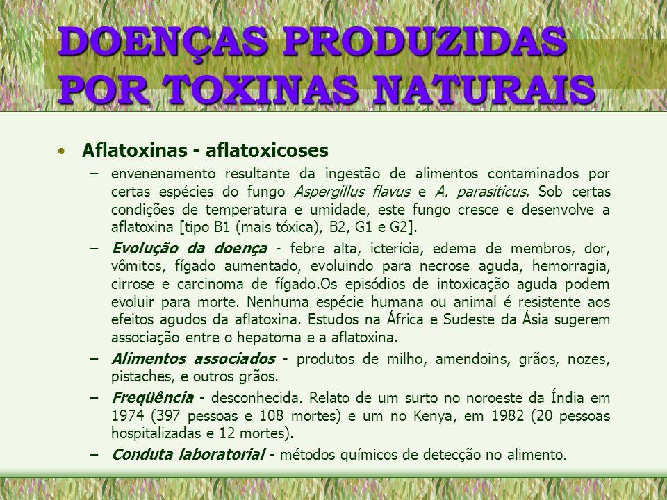 DOENÇAS PRODUZIDAS POR TOXINAS NATURAIS Aflatoxinas - aflatoxicoses –envenenamento resultante da ingestão de alimentos contaminados por certas espécie